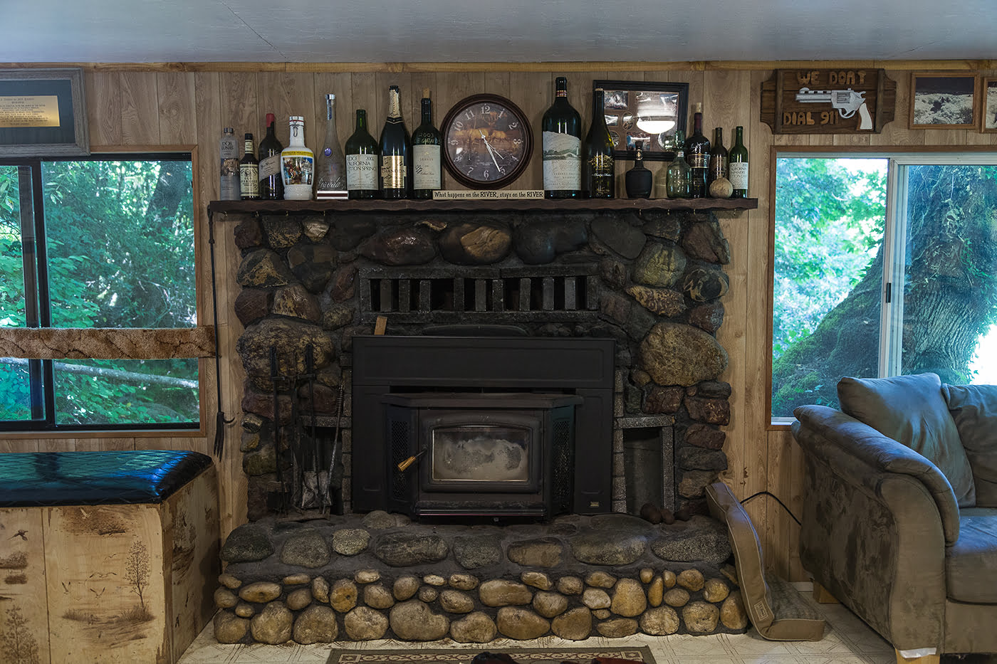 Fireplace at Marial Lodge on the Wild & Scenic Rogue River