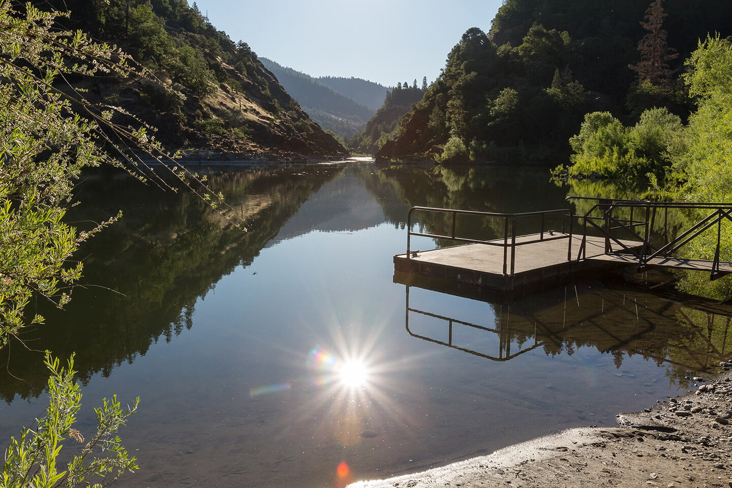 Morning sunrise from dock at Morrisons Lodge on Oregon's Rogue River