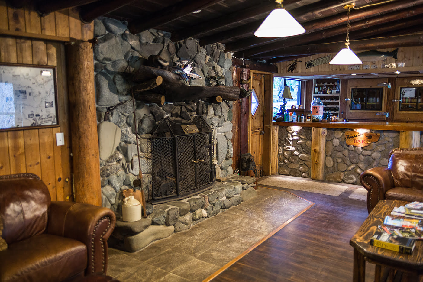 Fire place and bar inside Paradise Lodge on the Wild & Scenic Rogue River