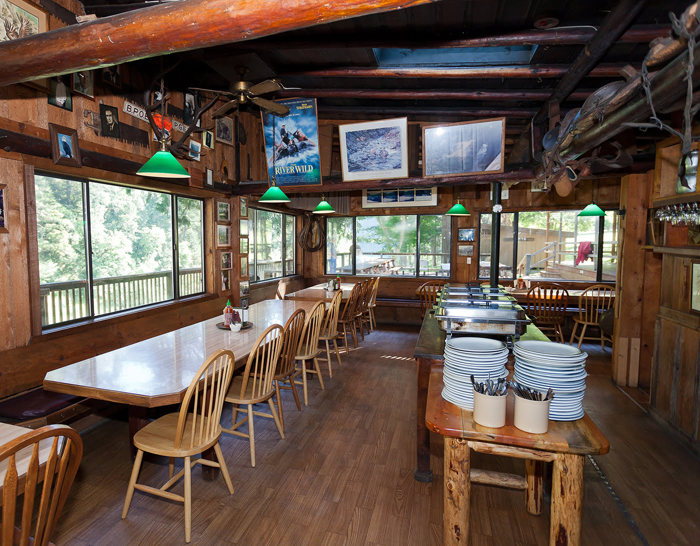 Dining Room area inside Paradise Lodge on the Wild & Scenic Rogue River