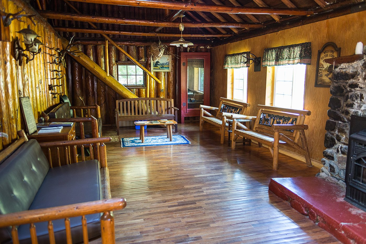 Seating area inside Black Bar Lodge on the Wild & Scenic Rogue River