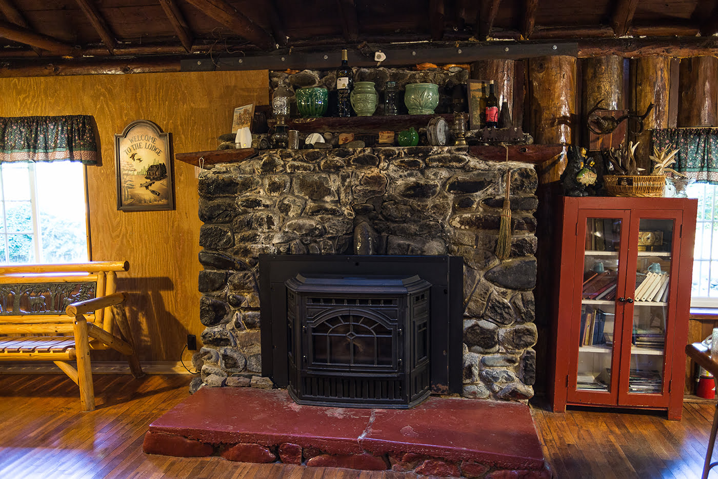Fireplace inside Black Bar Lodge on the Wild & Scenic Rogue River